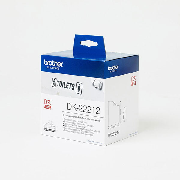 Brother DK-22212 62mm Black on White Continuous Length Vinyl Film