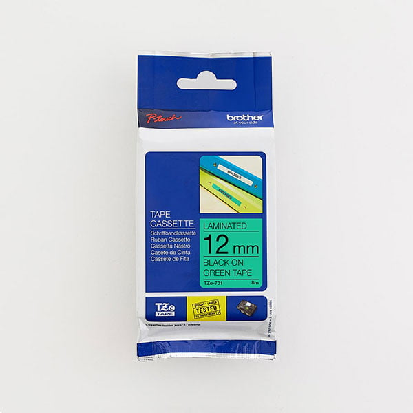 Brother TZe-731 12mm Black on Green TZ Tape