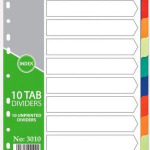 PVC Dividers, 10 Tab, Blank